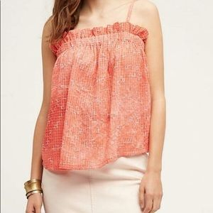 Maeve Anthropologie Emasalo Red Coral Tank Top L